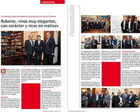 Aparición de Bodegas Ruberte en la revista de la Cámara Oficial Española de Comercio, Industria y Navegación del Uruguay
